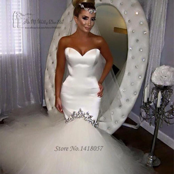 Vestido de Noiva Sereia White Wedding Gowns - little-darling-fashion-online