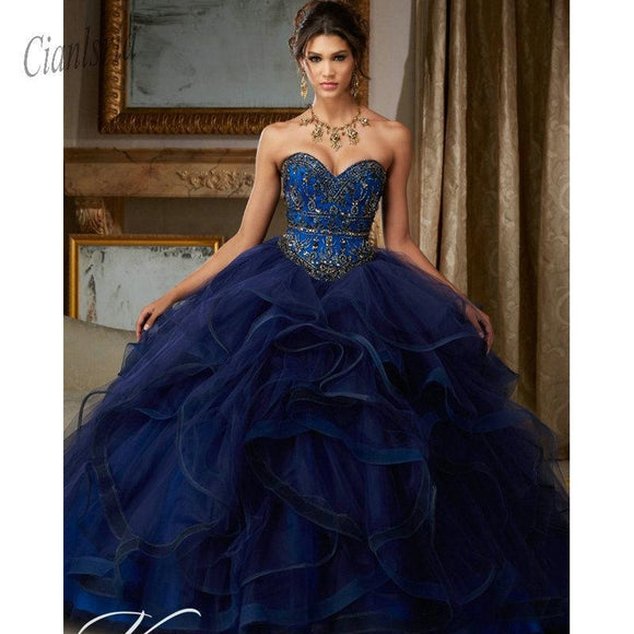 Royal Blue Beading Sweet 16 Ball Gown Dresses