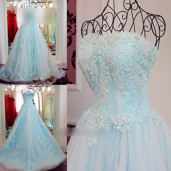 Vestidos Light Blue Sweet 16 Lace Debutante Gown by PickAProduct