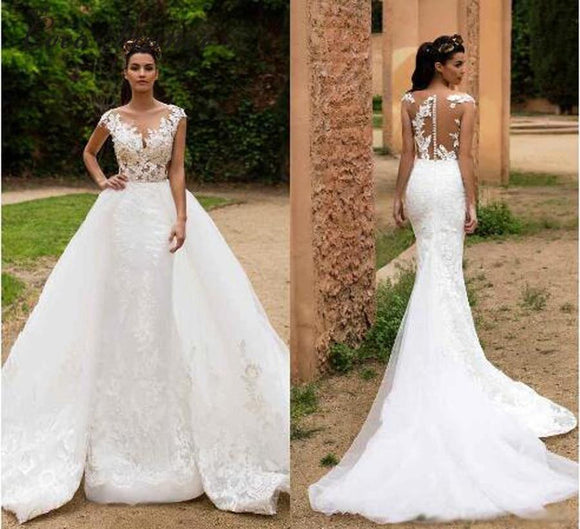Vintage Arabic Mermaid Wedding Dress with Detachable train