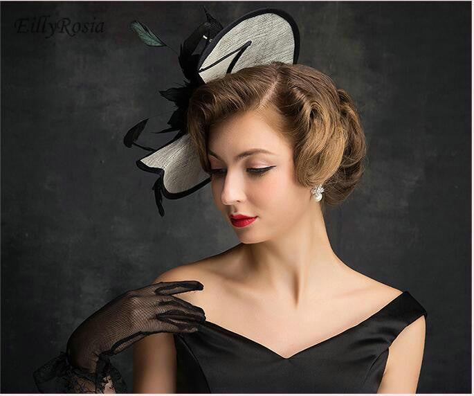 ... Vintage Black Wedding Bridal Hats for Women Feathers Fascinators With  Hairpin Wedding Hats 2018 Women Party ... 99d503c1ba1