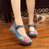 Vintage Embroidery Women Floral Flat Soft Shoes