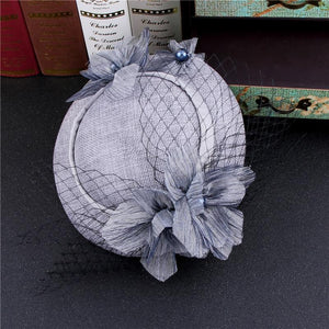 Vintage Grey Pink Birdcage Net Wedding Hats Bridal Fascinator Face Veils Feather Flower with Hairpin - little-darling-fashion-online