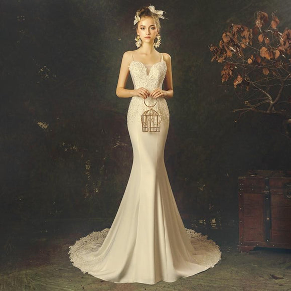 Vintage Spaghetti Straps V-neck Mermaid Wedding Dresses