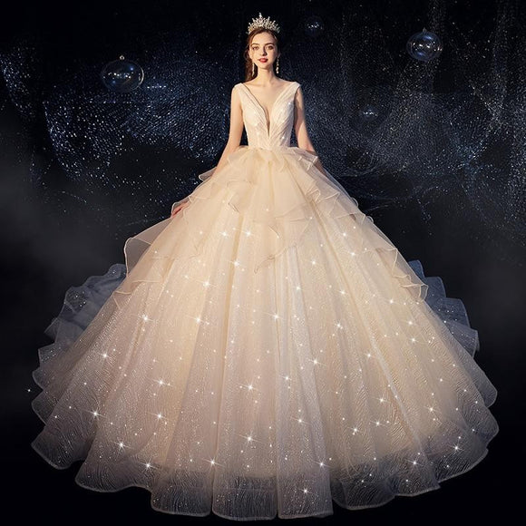 Luxury Starry Sky Ball Gown Wedding Dress