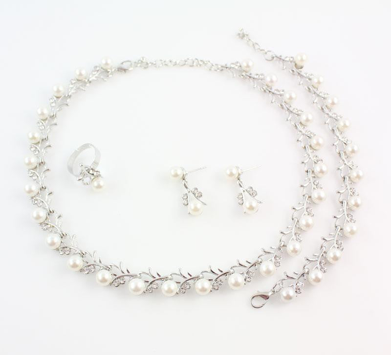 8eb667212 ... Wholesale Fashion Silver Color Crystal Simulated Pearl Wedding Costume  Jewelry Sets ...