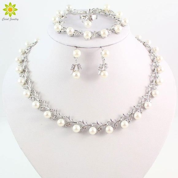 Wholesale Fashion Silver Color Crystal Simulated Pearl Wedding Costume Jewelry Sets