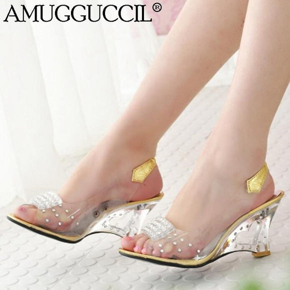 Gold Silver Clear Fashion High Heel Sandals by Pick a Product