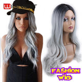Wignee Synthetic Wigs With Bangs For Women Long Hair High Density Temperature 3 Tone Ombre Brown Glueless Cosplay Fake Hair Wigs - little-darling-fashion-online