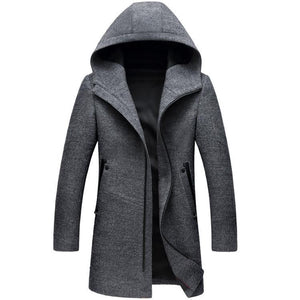 Winter Long Hooded Mens Trench Coat by Pick a Product
