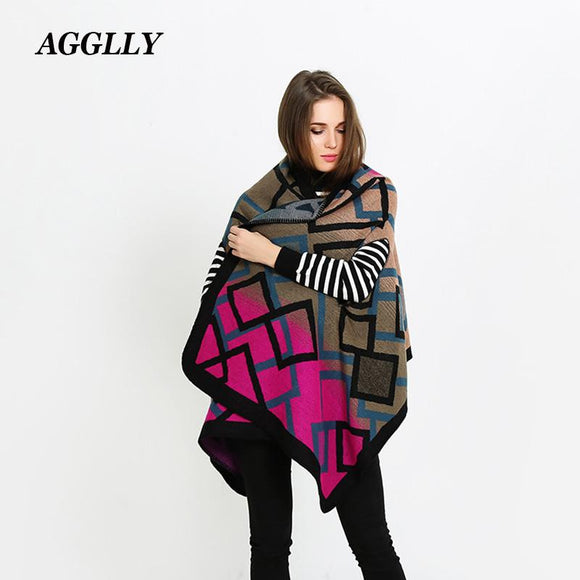 Winter Warm Stole Poncho Fall Fashion Scarfs Christmas Clothes Manteau Femme Hiver Tippet Plaid Printing Luxury Brand Shawls