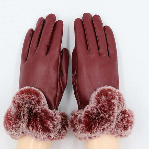 Winter women high quality PU leather fur gloves cool fitness 2018 touch screen thickening windproof cycling female warm mittens