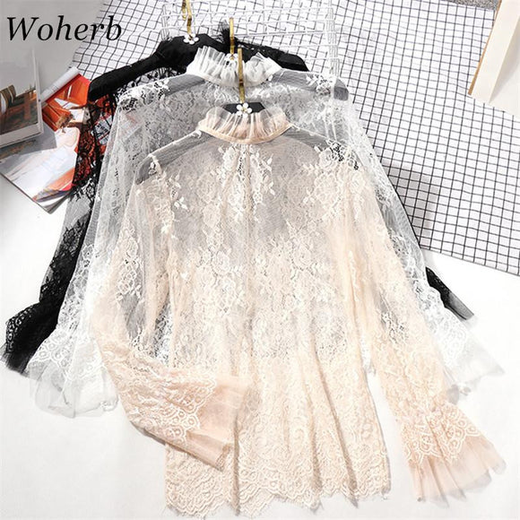 Woherb 2018 New Arrival Summer Solid Lace Stand Collar Blusa Flare Sleeve Hollow Out Blouse Fashion Summer Casual Blusas 74240
