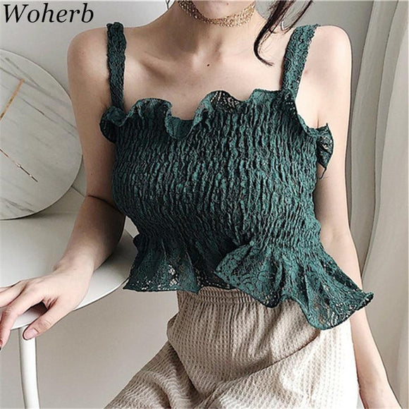 Woherb 2018 New Arrival Summer Solid Sexy T shirt Sleeveless Off Shoulder Korean Fashion Casual Slim Fashion Short T shirts74837