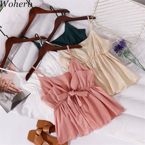 Woherb 2018 New Summer Bow Women Backless Blouse Fashion Slash Neck Shirts Sleeveless Female Short Off shoulder Blusas 74969