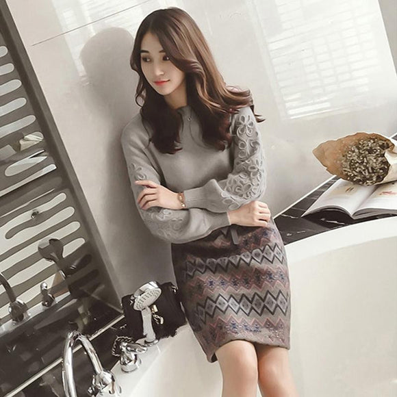 Fall/Winter Casual Long Sleeve Sweater+Knitted Skirt by Pick a Product
