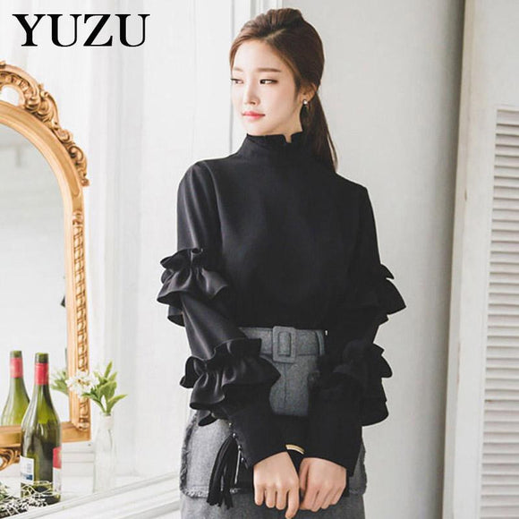Women Black Chiffon Shirt Office Style Ruffles Stand Collar lantern Sleeve tops and blouses 2018 Spring New Solid Elegant Blouse