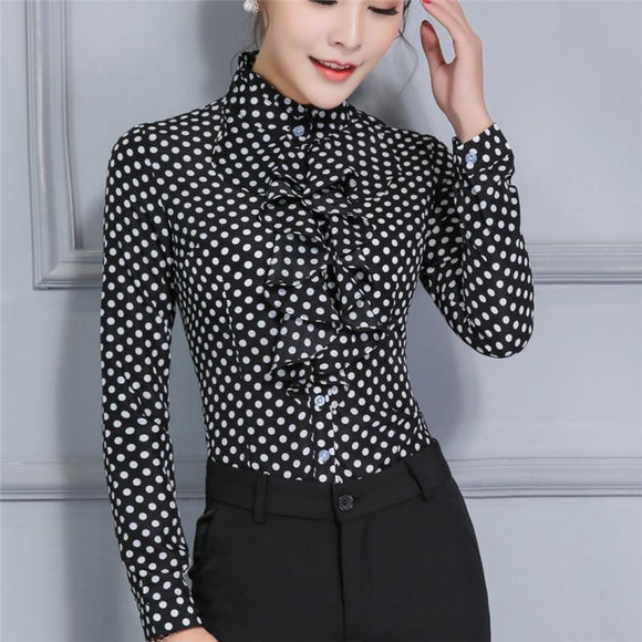 Women Career Fitted Polka Dot Ruffle High Neck Tops - little-darling-fashion-online