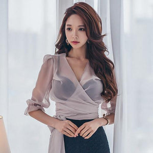 Women Fashion Shirts V-neck Puff Sleeve Bowtie Chiffon Crop Top Cute Summer Blouse See Through Tied Top Chemise Camisa Femme - little-darling-fashion-online