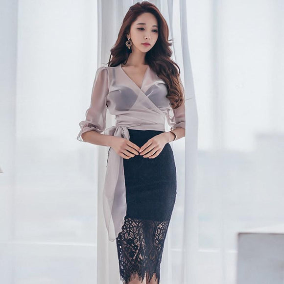 Sexy Half Sleeve Chiffon Blouse + High Waist Skirt - little-darling-fashion-online