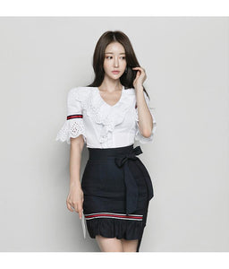 White Ruffle Flare Sleeve Blouse + Bow Mini Skirt by Pick a Product