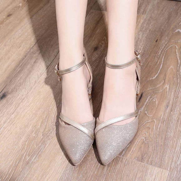 Women Two Piece Bling Crystal Ankle Buckle Strap Autumn Pumps Female Pointed Toe Chunky Middle Heels Ladies Elegant Shoes - little-darling-fashion-online