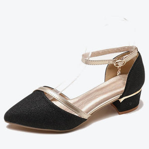 Women Two Piece Bling Crystal Ankle Buckle Strap Autumn Pumps Female Pointed Toe Chunky Middle Heels Ladies Elegant Shoes