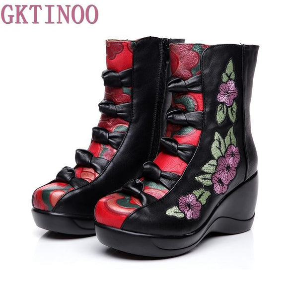 Women's Boots 2018 Autumn Winter New Genuine Leather Wedges Shoes Embroidered Flower Medium-leg warm High Heel Boots - little-darling-fashion-online