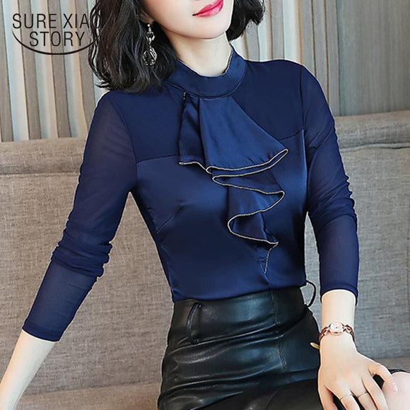 Women top 2018 New Fashion semi high collar women blouse solid color Black and blue work wear long sleeved ruffle blouse 1293 40