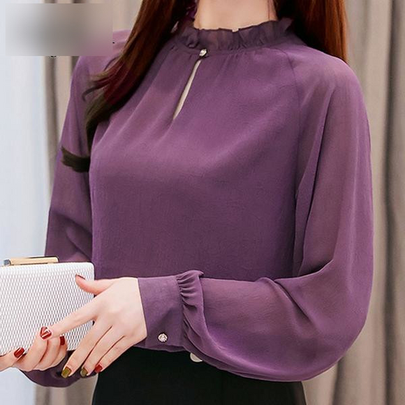 Women's Spring Chiffon Long Sleeve Purple Blouse - little-darling-fashion-online