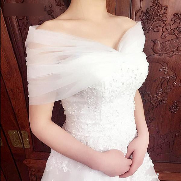 Women's Short Lace-Up Back Wedding Bolero - little-darling-fashion-online