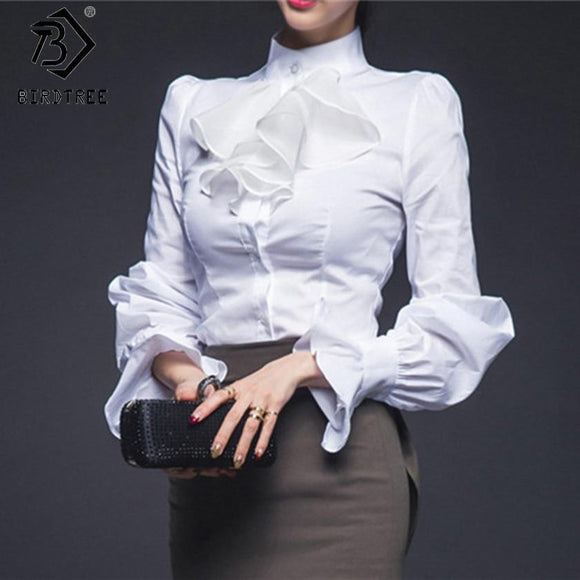 Womens Vintage Lantern Sleeve Shirt Tops 2018 Spring Fashion Female Cotton OL Blouses Big Size Stand Collar Flounce Tops T81650A