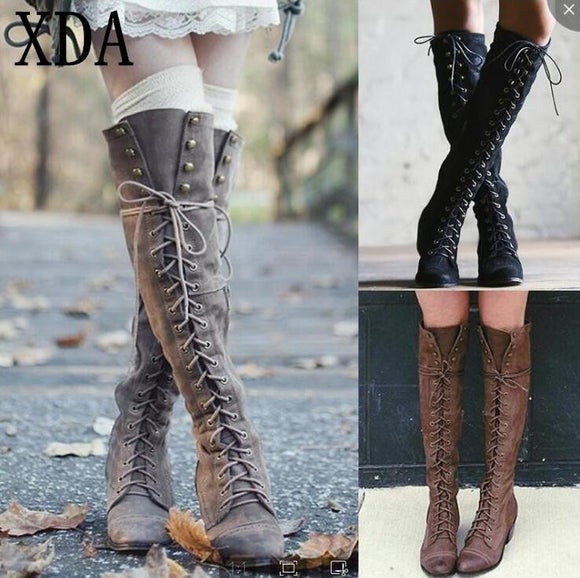 2019 Woman Knee High Motorcycle Boots - little-darling-fashion-online