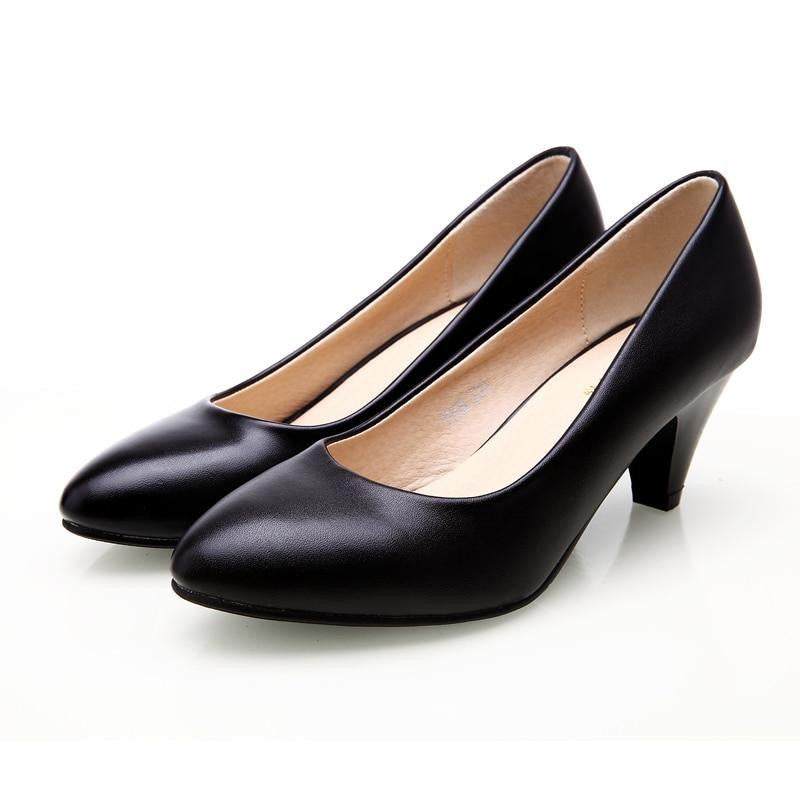 f40356dcc7 YALNN Women's Leather Med Heels New High Quality Shoes Classic Black&White  Pumps Shoes for Office Ladies Shoes