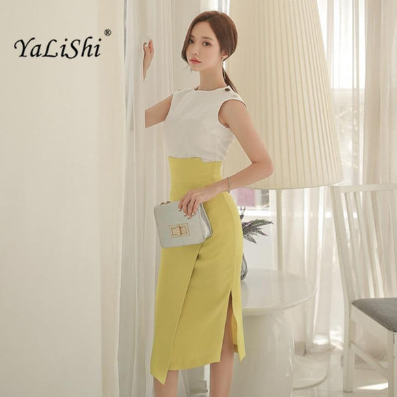 YaLiShi 2 Piece Summer Crop Top and Skirt Set