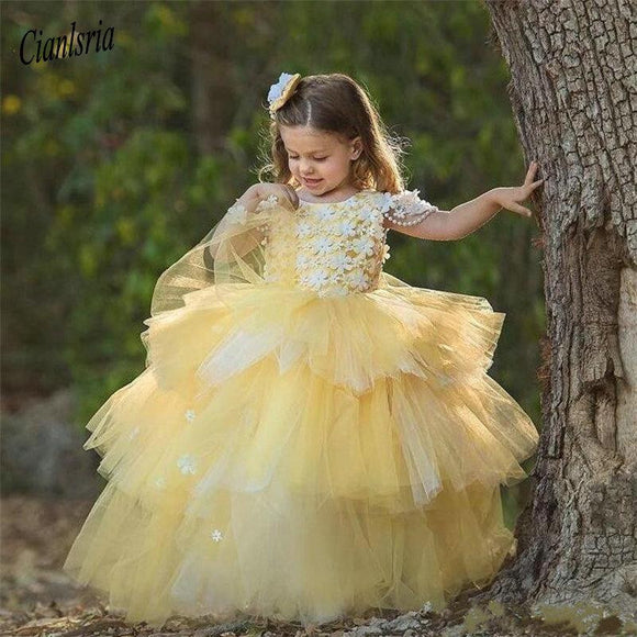 Yellow Tiered Ball Gowns for Princess - little-darling-fashion-online