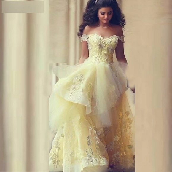 Yellow Tulle Lace Dubai Arabic A-Line Wedding Dress - little-darling-fashion-online