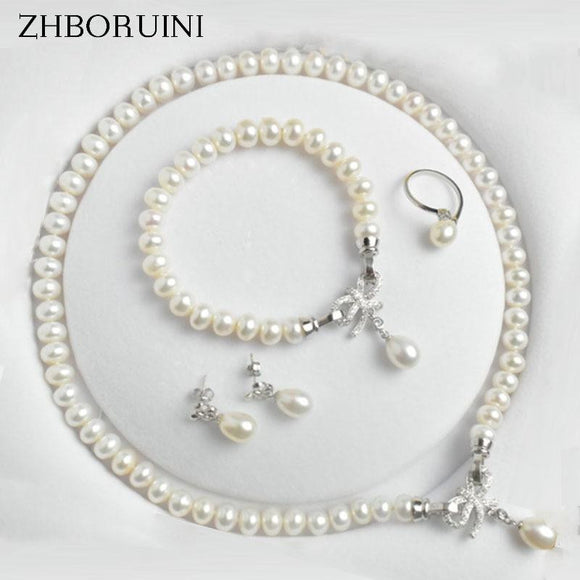 Natural Freshwater Pearl Sterling Silver Jewelry Set - little-darling-fashion-online