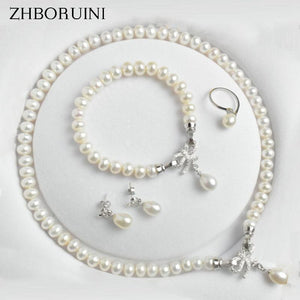 Natural Freshwater Pearl Sterling Silver Jewelry Set