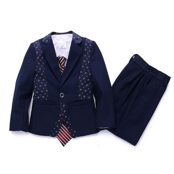 Jacket+Vest+Pants Three Pieces 2018 New Boy Suit - little-darling-fashion-online
