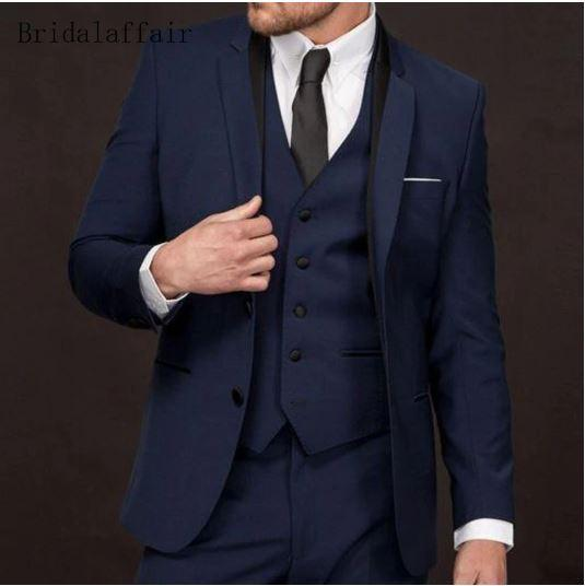 Groom Tuxedo Navy Blue Groomsmen Suits - little-darling-fashion-online