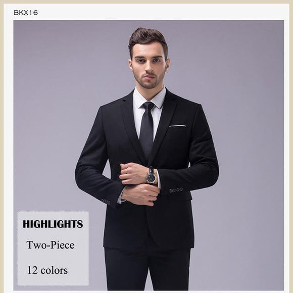 12 Color 2 Piece Slim Fit Business Men's Suits with Notch Lapel (Sizes S-5XL) - little-darling-fashion-online