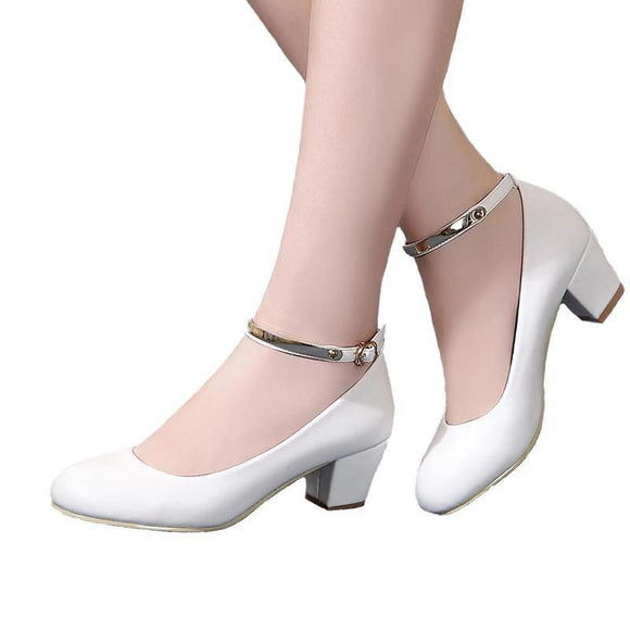 YALNN New Women's High Heels Pumps Sexy Bride Party Thick Heel Round Toe leather High Heel Shoes for office lady Women - little-darling-fashion-online