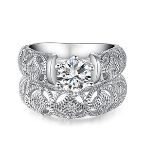 Princess Style Cubic Zirconia Hollow-out Silver Color Ring Set (Sizes 5-10)