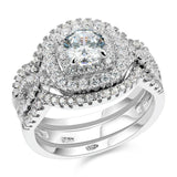 Newshe 2.1Ct 925 Sterling Silver Wedding Ring Set - little-darling-fashion-online