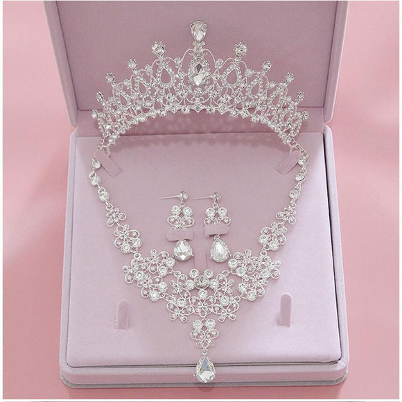 Fashion Crystal Bridal/Beauty Pageant Jewelry Set (Tiara +Necklace + Earrings) - little-darling-fashion-online