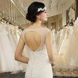 Q026 Cheap Long Lace Crystal Backless Open Back Mermaid Wedding Dresses
