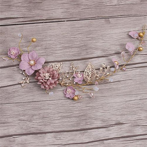 Sweet Long Hair Flower Wedding Hair Ornaments Gold Purple Series Bride Headdress Handmade Bridal Party Wedding Hair Decoration - little-darling-fashion-online