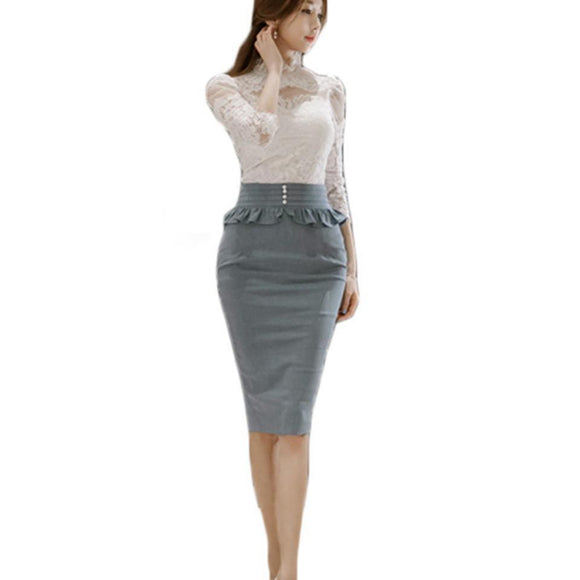 Elegant White Lace Blouse+Ruffled Pencil Skirt by Pick a Product