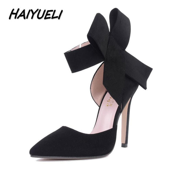 HAIYUELI New spring summer fashion sexy big bow pointed toe high heels sandals shoes woman ladies wedding party pumps dress shoe
